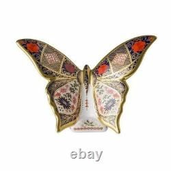 New Royal Crown Derby 2nd Quality Imari Solid Gold Band Butterfly Paperweight