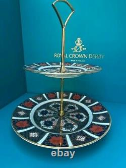 New Royal Crown Derby 2nd Quality Old Imari 1128 2 Tier Cake Stand
