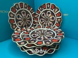 New Royal Crown Derby 2nd Quality Old Imari 1128 Set 6 x 8 Fluted Dessert Plate