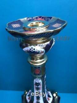 New Royal Crown Derby 2nd Quality Old Imari Solid Gold Band 2 x 10 Candlesticks