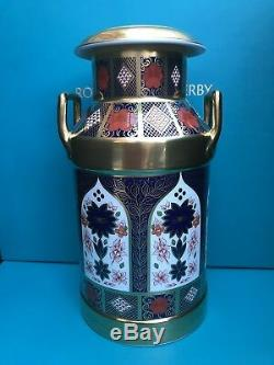 New Royal Crown Derby 2nd Quality Old Imari Solid Gold Band Milk Churn