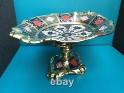 New Royal Crown Derby 2nd Quality Old Imari Solid Gold Band Oval Comport