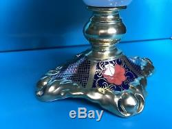New Royal Crown Derby 2nd Quality Old Imari Solid Gold Band Tall Oval Comport