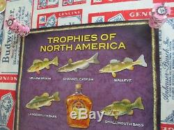 New Vtg 2010 Crown Royal Whiskey Fish In Motion Bar Sign Fishing Poster Beer