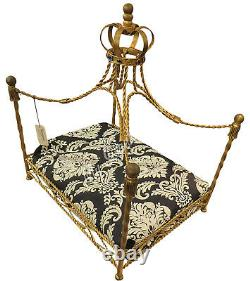 Ornate Jeweled Crown Gold Iron Dog Bed Pet Canopy Metal Royal Tassel