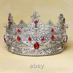 Piece Of Art King Crown, Royal Crown, Silver Crown, King, Prince, Cosplay Crown