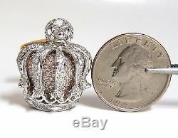 Posh Britt 3D Royal Crown 6.00ct. Diamonds Cufflinks 18Kt Kingship