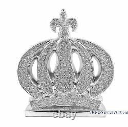 Princess Crown Queen Silver Ornament Bling Crushed Diamond Display Decor Gift