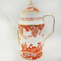 RED AVES Royal Crown Derby Tea Pot 6.75 tall NEW NEVER USED made in England
