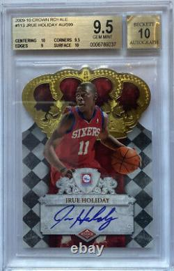 ROOKIE! 2009-10 JRUE HOLIDAY Crown Royale (Auto/RC) (X/599) BGS 9.5/10