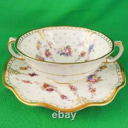 ROYAL ANTOINETTE by Royal Crown Derby Cream Soup & Stand NEW NEVER USED England