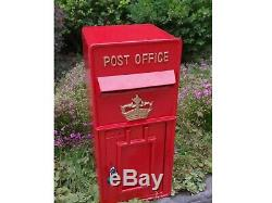 Replica Wall Mounted Royal Mail Crown Emblem Post Box Or Letter Box Red