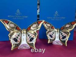 Royal Crown Derby 1st Quality Old Imari Solid Gold Band Butterfly Pair