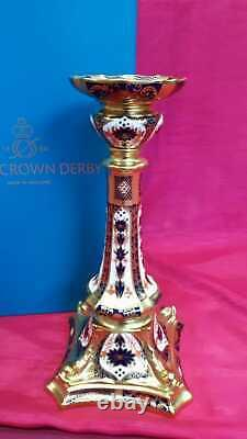 Royal Crown Derby 1st Quality Old Imari Solid Gold Band Candlestick Large 27cm