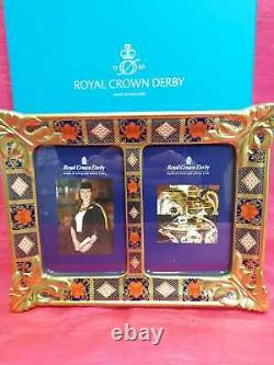 Royal Crown Derby 1st Quality Old Imari Solid Gold Band Double Picture Frame