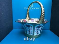 Royal Crown Derby 1st Quality Old Imari Solid Gold Band Fruit Basket