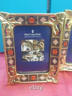 Royal Crown Derby 1st Quality Old Imari Solid Gold Band Picture Frame Large Pair