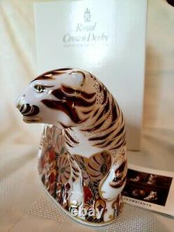 Royal Crown Derby Bengal Tiger, Gold 1st Quality Stopper