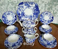 Royal Crown Derby Blue Mikado Teapot Set Cake Plate Cream Sugar Trios Free Ship
