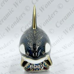 Royal Crown Derby Fair Isle Orca Whale Paperweight Boxed Gold Stopper