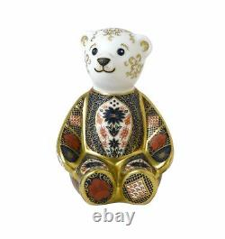 Royal Crown Derby Old Imari Solid Gold Band Bear Paperweight