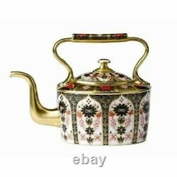 Royal Crown Derby Old Imari Solid Gold Band Large Kettle 2nd Quality