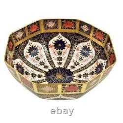 Royal Crown Derby Old Imari Solid Gold Band Large Octagonal Bowl 2nd Quality