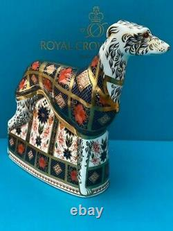 Royal Crown Derby Old Imari Solid Gold Band Lurcher Paperweight