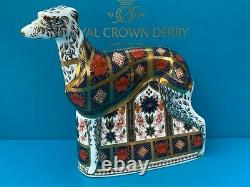 Royal Crown Derby Old Imari Solid Gold Band Lurcher Paperweight 2nd Quality