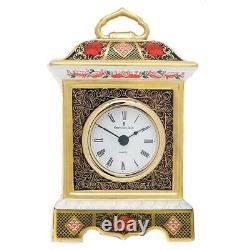 Royal Crown Derby Old Imari Solid Gold Band Mantel Clock