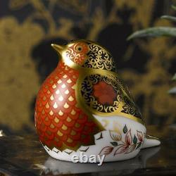 Royal Crown Derby Old Imari Solid Gold Band Robin New Paperweight 1st Quality