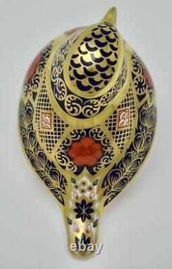 Royal Crown Derby Old Imari Solid Gold Band Robin Paperweight New'1st