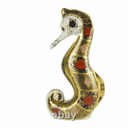 Royal Crown Derby Old Imari Solid Gold Band Seahorse Paperweight 2nd Quality