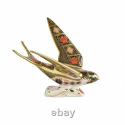 Royal Crown Derby Old Imari Solid Gold Band Swallow Paperweight 2nd Quality