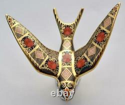 Royal Crown Derby Old Imari Solid Gold Band Swallow Paperweight New'1st