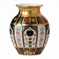 Royal Crown Derby Old Imari Solid Gold Band Tulip Vase 2nd Quality