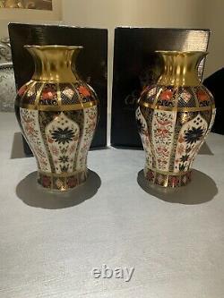 Royal Crown Derby Old Imari vase solid gold band