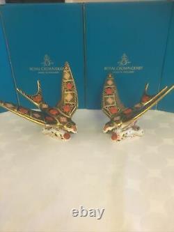 Royal Crown Derby Pair Of SGB Imari Swallows