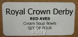 Royal Crown Derby RED AVES Cream Soup Bowls SET S OF FOUR More Here