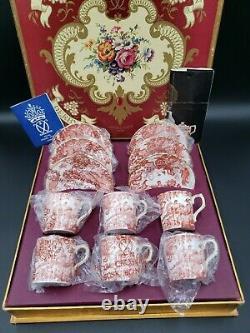 Royal Crown Derby RED AVES (OLDER, DISC 1997) Boxed Set 6 Demitasse Cup & Saucers