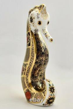 Royal Crown Derby Seahorse Old Imari Solid Gold Band Paperweight New 1st Qua