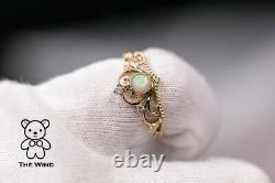 Royal Crown Design Australian Solid Opal Diamond Engagement Ring 14K Yellow Gold