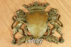 Royal Family Crest Coat Arms Lion Unicorn Crown Shield Bronze Wall Plaque DEAL
