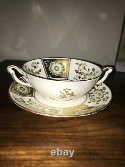 Royal crown derby, green panel 6Cream Soup Bowls, 6 Matching Saucers