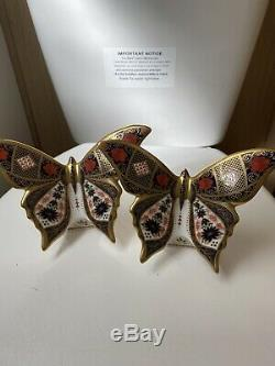 Royal crown derby royal butterfly Pair