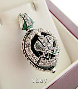 Superb Russian Solid Sterling Silver 925 Enamel Egg Pendant With Imperial Crown
