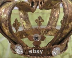 Victorian Royal Crown Replica Sculpture Set of 2 Antiqued Gold Vintage Decor